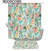 pink pineapple flower bath curtains bath mat set flamingo bathroom curtain shower curtain green