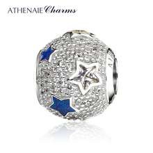 ATHENAIE 925 Sterling Silver Multi Colored Enamel & Clear CZ Cosmic Stars Bead Charms