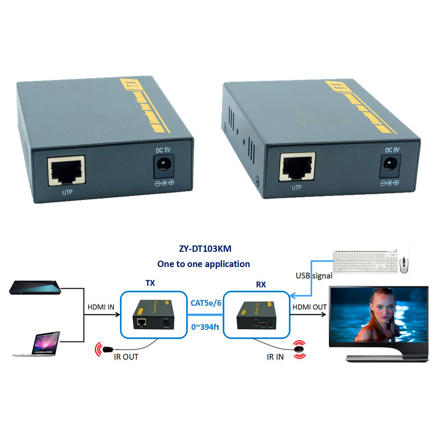 ZY-DT103KM HDMI USB KVM IR Over IP Network Extender 394ft 1080P HDMI Keyboard Mouse KVM Extensor 120m Via RJ45 CAT5e CAT6 Cable mirabox usb hdmi kvm extender up to 80m over cat5 cat5e cat6 cat6e lan rj45 single cable lossless non delay with mouse control