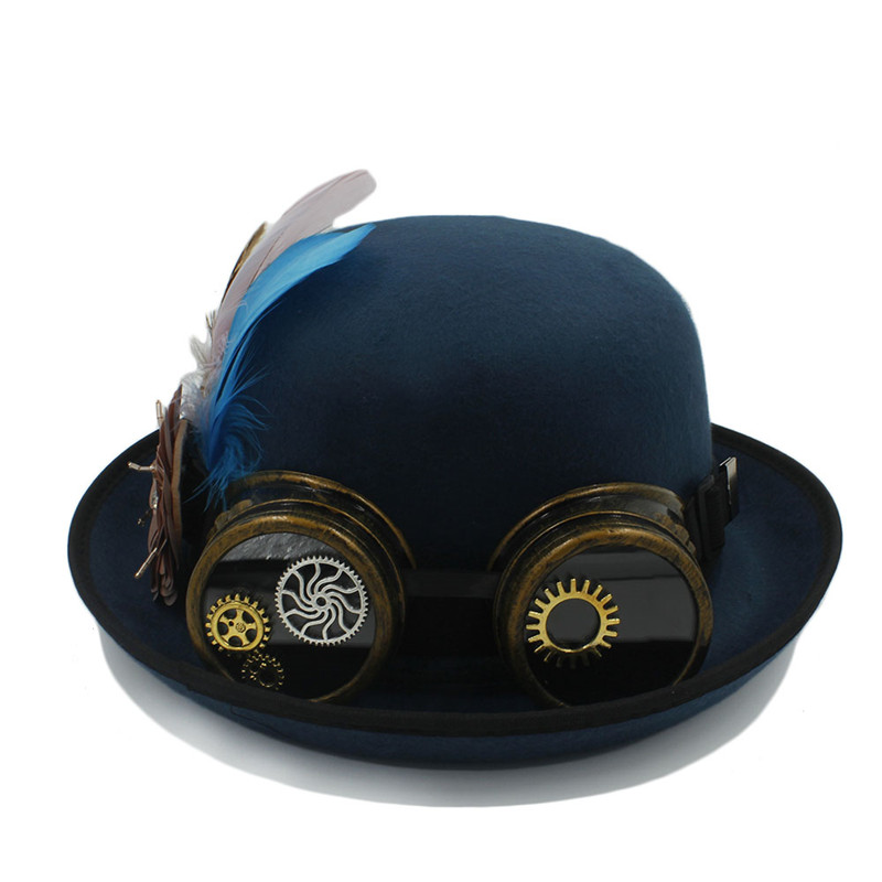 767169377230e Classic Handwork Fedora Hat Steampunk Bowler Hat For Women Men Gear Glasses  Cosplay Hat Halloween Feather Party Top Hat-in Fedoras from Apparel  Accessories ...
