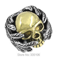 Free Shipping Classic Gothic Wing Skull Ring Stainless Steel Jewelry Motor Biker Ring Ring SJR0160