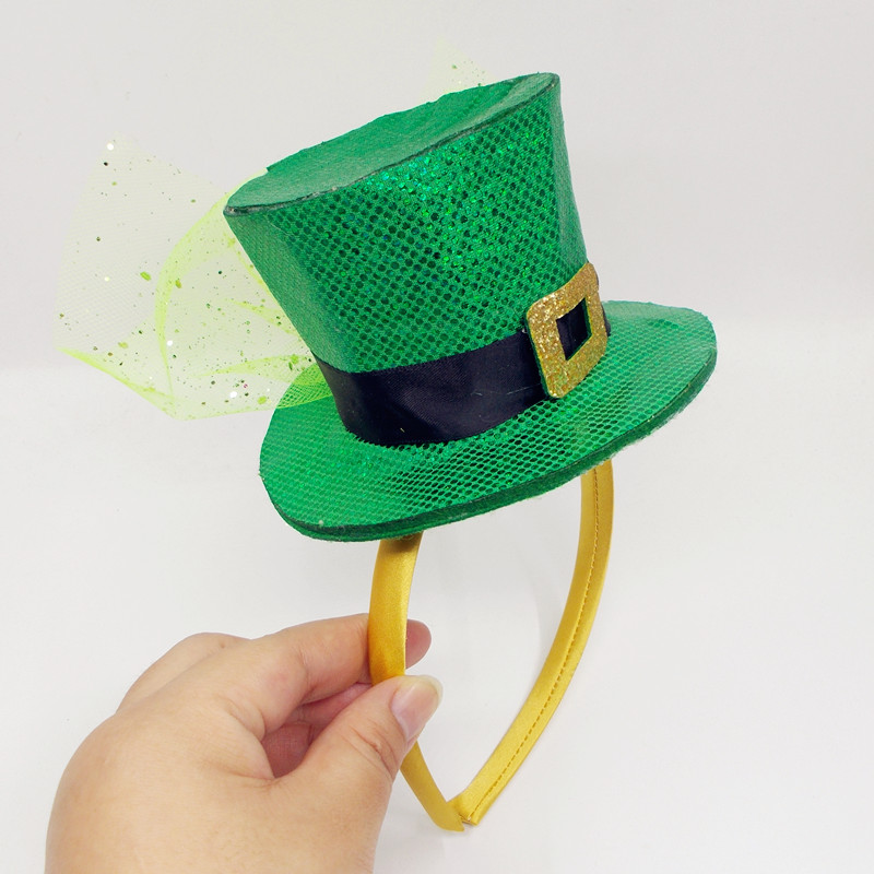IRISH TOP HAT 4 LEAF CLOVER AND HAIR IRELAND ST PATRICKS DAY FANCY DRESS LOT