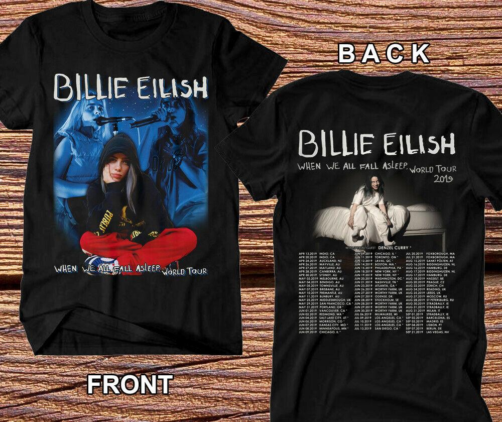 Billie Eilish T-Shirt Tour du monde 2019 avec Spcl invité DENZEL CURRY Concert T-Shirt manches courtes coton livraison gratuite haut T-Shirt