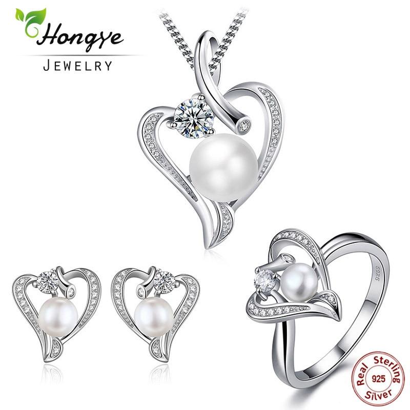 Hongye Romantisches Herz Sterling Silber Schmuck Set Perlenkette & - Edlen Schmuck - Foto 1