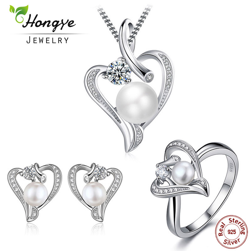 Hongye Romantic Coronary heart Sterling Silver Jewellery Set Pearl Necklace & Earring&ring For Ladies Woman Pal Spouse Valentine's Day Reward