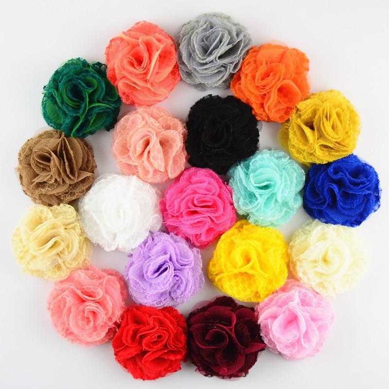 7CM Newborn Shabby Chiffon Flower For DIY Hair Accessoreis Fashion Tulle Mesh Lace Flowers For DIY Baby Headbands Headwear