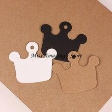 50pcs 6*5.5cm Crown Kraft Paper Gift Hang Tags Bookmark Wedding Christmas Scallop Label Blank Luggage