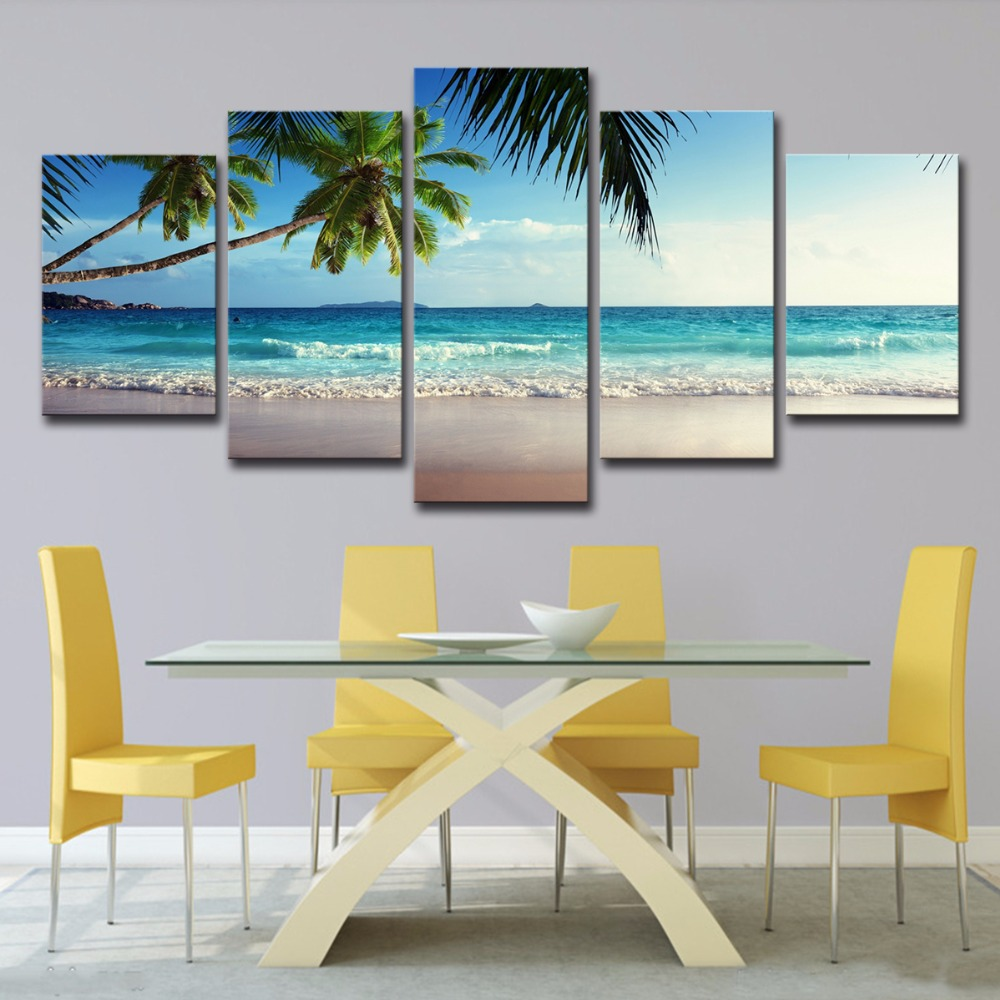 5P0061 Pictures Frame Home Decor Printed Poster 5 Pieces Coconut Tree Blue Sky And Ocean Beach Seascape Wall Art Canvas Painting PENGDA (12)