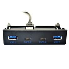 USB Hub USB C محور 3.5 بوصة قرص مرن الجبهة لوحة 2 ميناء USB 3.0 + 2 ميناء USB 3.1 نوع C 20 دبوس موصل ل كمبيوتر مكتبي