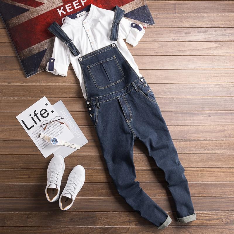 Mens Denim Bib Jumpsuits Man Cool Stylish Jeans Overalls Hip hop streetwear Spring vintage sexy denim pants 032106