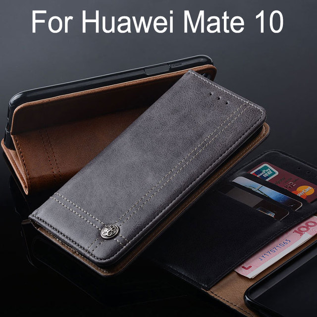 new product 9726a 10767 US $9.59  for huawei mate 10 case Luxury Leather Flip cover with Stand Card  Slot Vintage Cases for huawei mate 10 funda Without magnets-in Wallet ...
