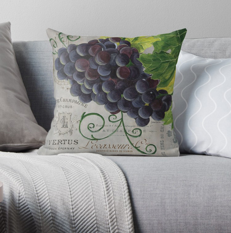 French Purple Grapes Pillow Covers Cases Pattern Nordic Cover Cushion Pillowcase Square Print