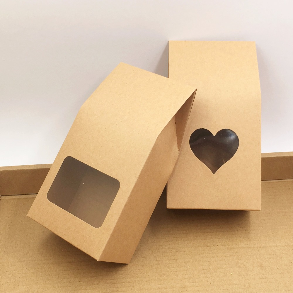 8 16 5cm 50pcs kraft paper stand up bag food square window box package bags of nuts  tea  cake