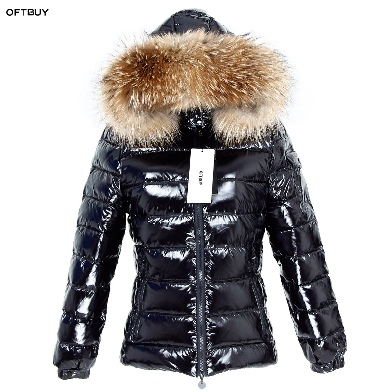 OFTBUY 2019 New Winter Jacket Women Real Fur Short Coat Natural Raccoon Fur Collar Parka Duck Down Jacket Waterproof Streetwear