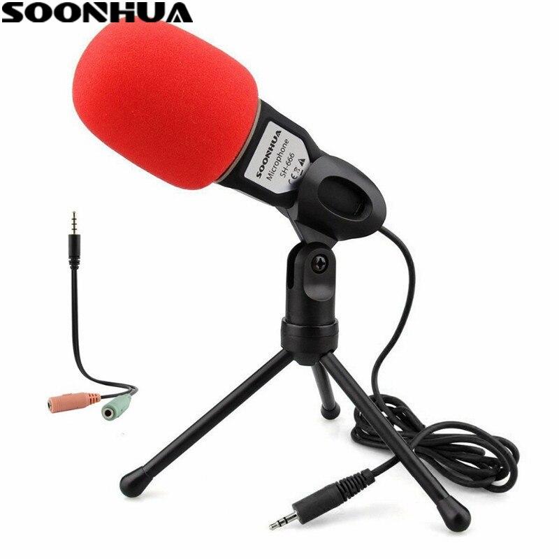 SOONHUA Condenseur À Son Podcast Studio Microphone 3.5mm Jack Professionnel Filaire Mic Pour PC Ordinateur Portable Skype MSN Microphone