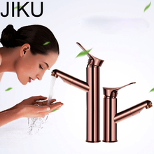 JIKU Rose Gold Bathroom Basin Faucet Single Handle Single Hole Mixer Tap Heightened Hot And Cold Tap Sink Brass Faucet bathroom faucet gold single handle sink mixer tap bathroom single hole wash basin faucet polished tap free shipping mt 3617a