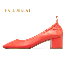 Shoes Women Genuine Leather Orange Office and Career Rounded Toe 2-inch Block Heel Fashion Office Lady Pumps Size 38 39, K-085