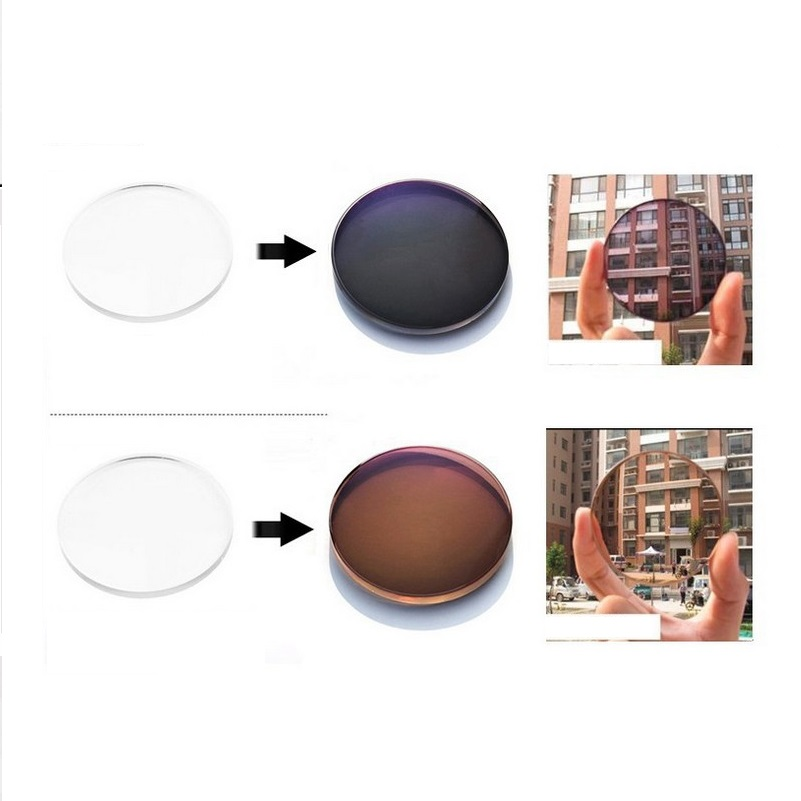 1.56 Aspheric photochromic brown gray brand myopia eyglasses lenses color film wear-resistant coated Anti-planning resin lenses
