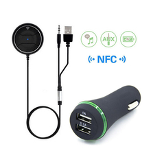 for iPhone 7 NFC Bluetooth V4.0 Car Kit Audio AUX Receiver Hands-free Calling 3.1A Dual USB Charger Built-in Microphone