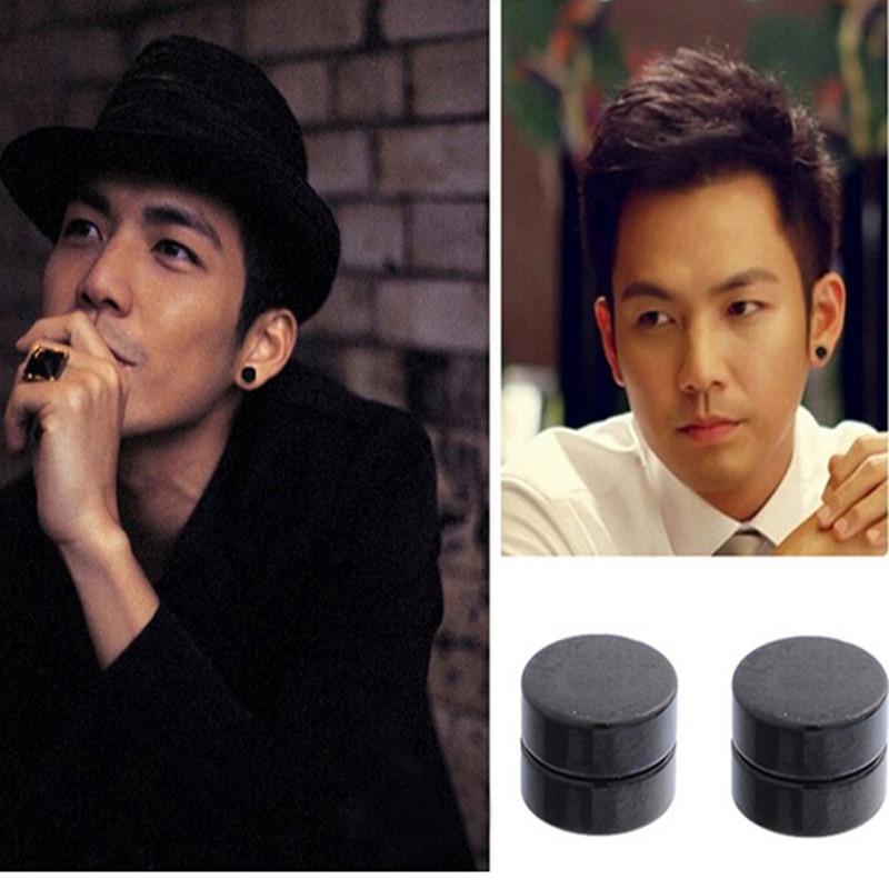 1Pair Men Magnet Stud Earrings Non Piercing Clip On Round Earring Black Magnetic Earrings For Mens Women Er936
