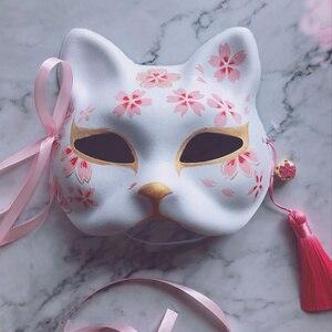 Image 5 - 9 хвостая маска лисы, ручная роспись, кошка, книга друзей Natsume, целлюлоза, Полулицо, Хэллоуин, косплей, животные, вечерние игрушки для женщин
