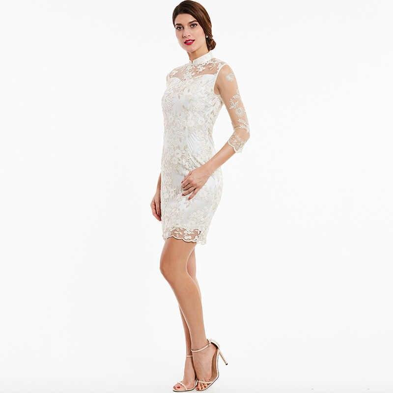 Tanpell de cuello alto vestido de cóctel de marfil con Apliques de encaje hasta la rodilla vestido recto de mujer 3/4 mangas de noche corto vestidos de cóctel