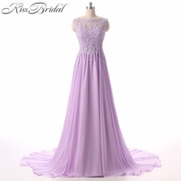 Robe De Soiree 2017 A Line Scoop Neck Appliques Lace Long Prom Dresses Sleeveless Chiffon Party