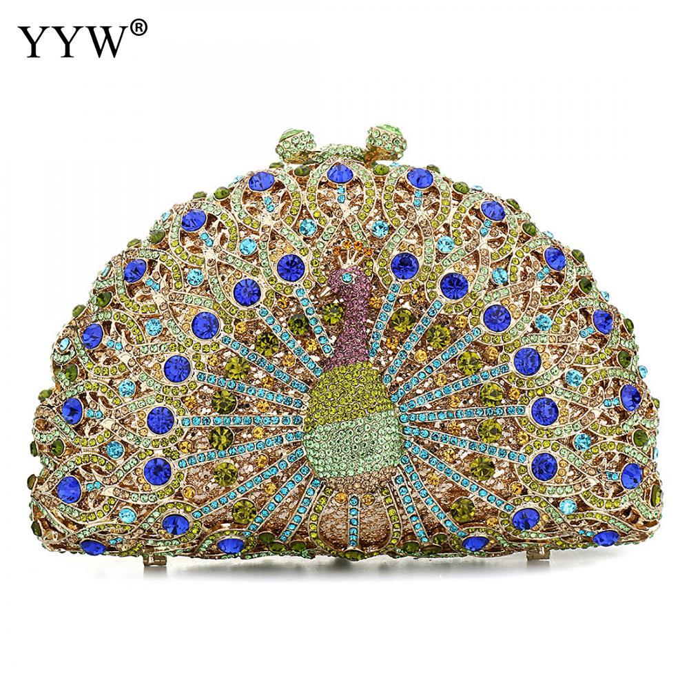 Women Peacock Crystal Clutch Evening Bag Wedding Party Minaudiere Handbag Purse