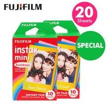 Véritable Fujifilm Instax Mini 8 Film arc en ciel Fuji papier Photo instantané 20 feuilles pour 70 7s 50s 50i 90 25 partager SP 1 appareils Photo LOMO
