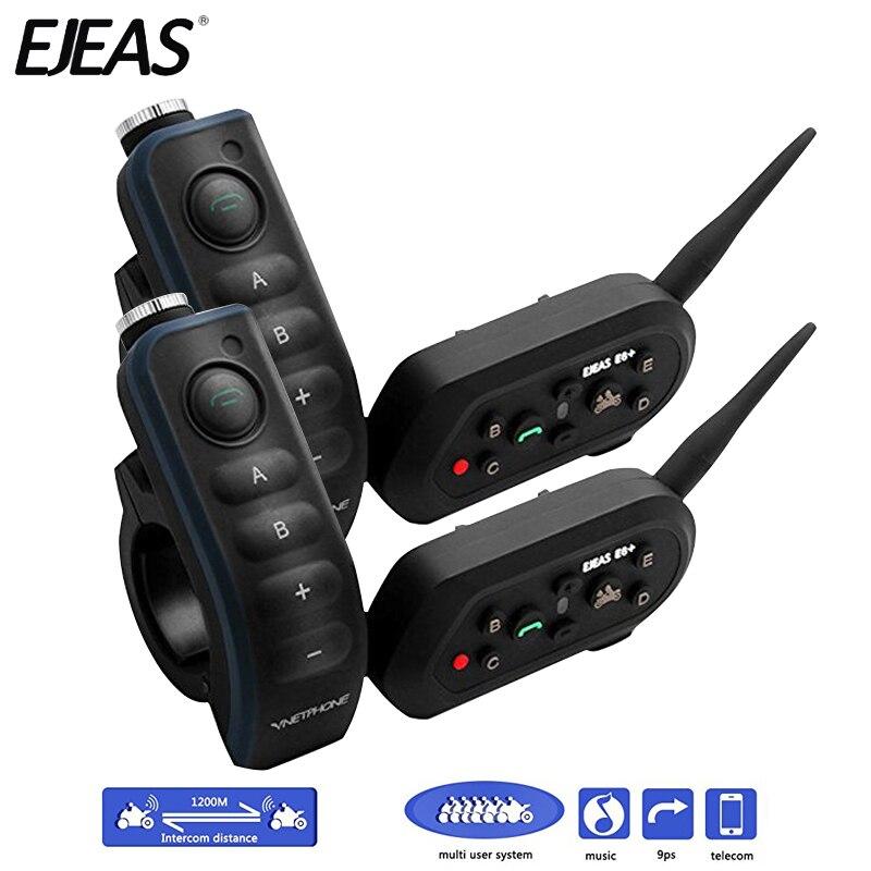 Paire Ejeas E6 Plus BT Motos Poignée Bar Casque 6 Coureurs 1200 M Communicateur Casque Interphone VOX Bluetooth Interphone