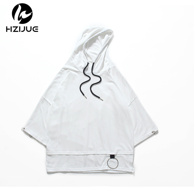 HZIJUE 2018 High street half sleeve top tees   t     shirt   Men   T     shirt   simplicity casual summer hoodies hip hop have cap hooded black