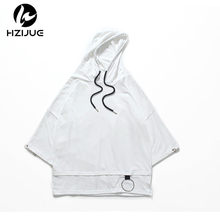HZIJUE 2018 High street half sleeve top tees t shirt Men T shirt simplicity casual summer hoodies hip hop have cap hooded black(China)