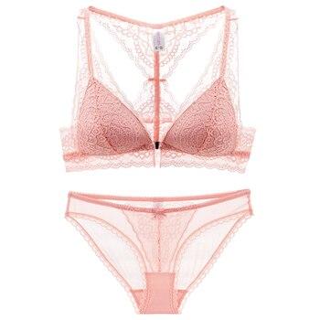 6bcd0e9dd239 De lujo de ropa interior de encaje francés tazas grandes ropa interior  sostenes 2018 botón Push Up transparente sujetador bragas Conjunto para las  mujeres ...