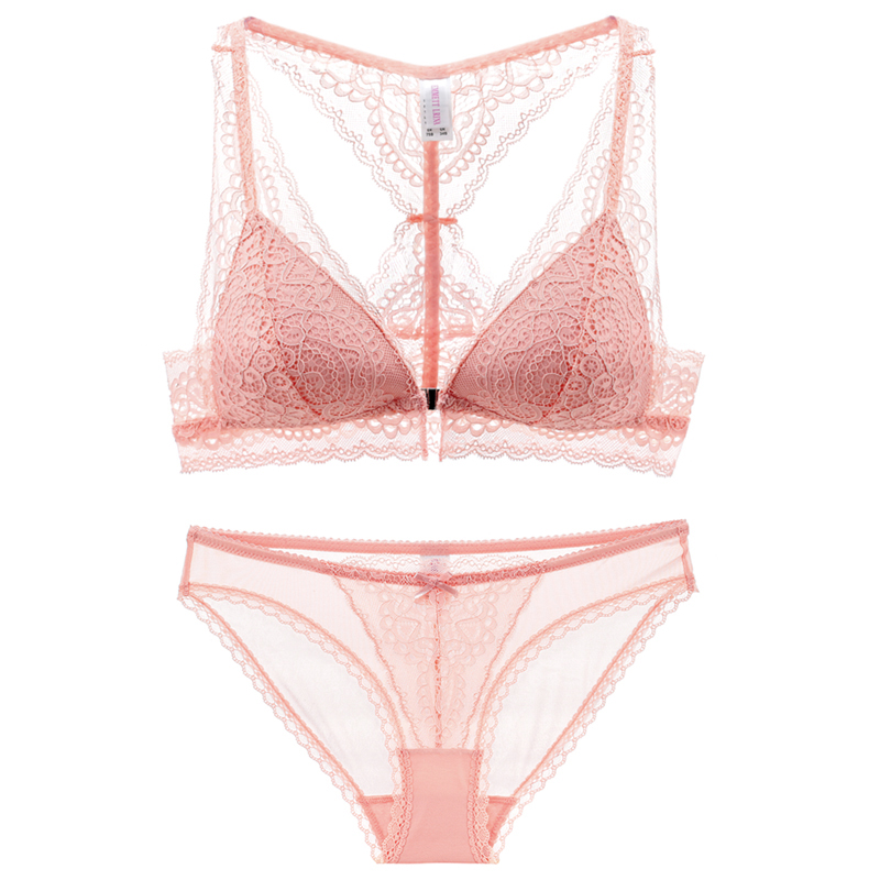 Luxury Intimates French Lace Big Cups Bras Underwear Set 2018 Front Button Push Up Tranparent Bra Briefs Set For Women Cup ABC