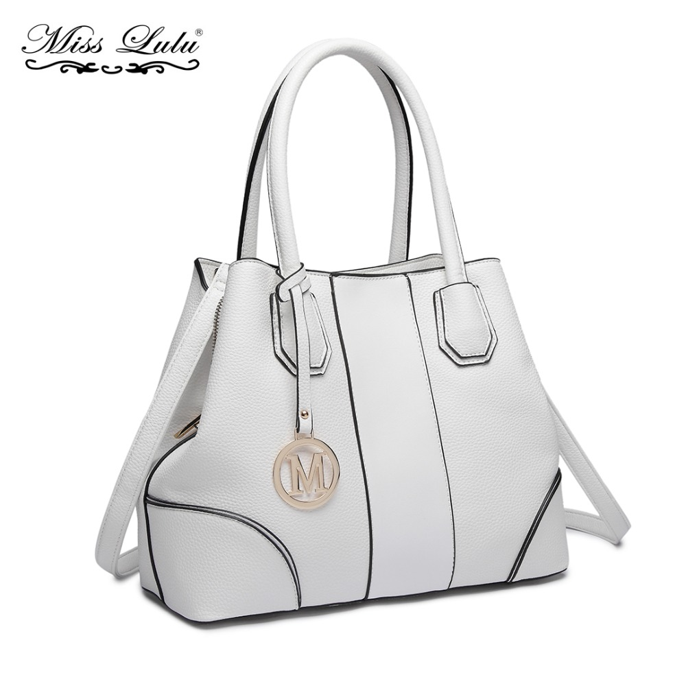 Miss Lulu Women Handbags Shoulder Bags Crossbody Bags Ladies Synthetic Leather Top-handle Totes Multi Compartments White LT1822