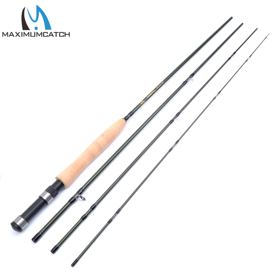 Maximumcatch 9.0FT 5WT 4Pieces Fly Fishing Rod 24T SK Carbon Fiber Fly Rod For Slow Action For Starter
