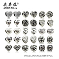 30 Pçs/lote Estilo Mix Grande Buraco Grânulos de Prata Encantos Do Coração Serve Para Pandora Europeia Charm Bracelet Jóias Set011