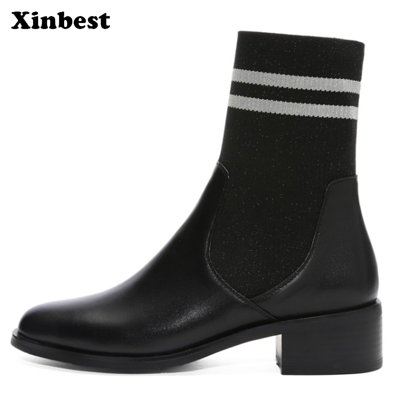 Xinbest Women Brand Boots Casual Fashion Ankle Boots For Women Square heel Womens Winter Boots Round Toe Women High Heel Shoes