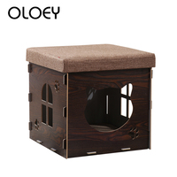 Multi functional Wooden Family Sitting Cats House Pet Dog Kennel Stool Chair Warming Nest for Cat Dog House Bed Size S M L