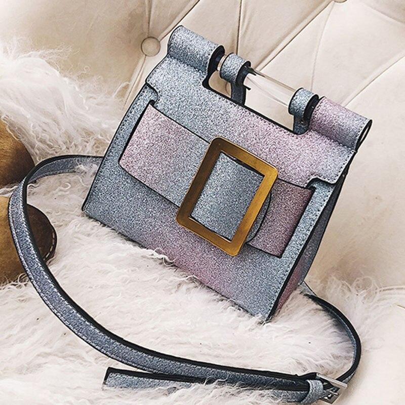 ETAILL 2018 Big Buckle Glitter Blink Small Shoulder Bag Women Sequins Pu font b Leather b