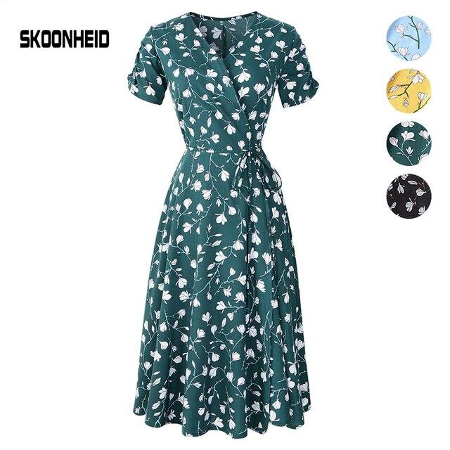 SKOONHEID nuevo verano estampado Floral vestido de mujer cuello en V de manga corta de gasa vestidos bohemios playa Midi Vestido largo de mujer