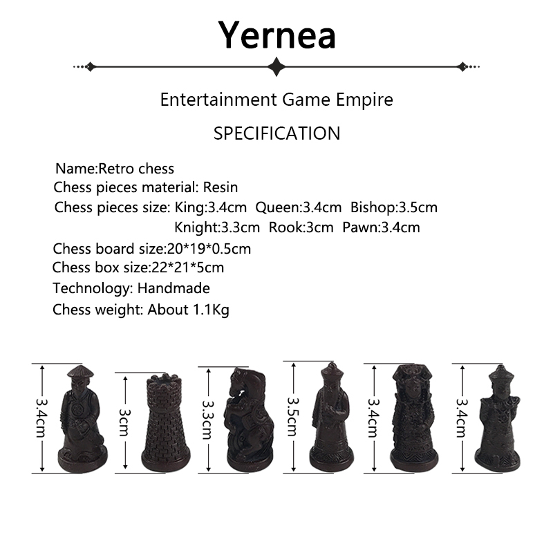 Yernea antiguo juego de tablero de ajedrez Set Vintage ajedrez ...