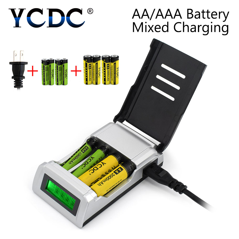 YCDC 4 fentes de charge indépendantes C905W écran LCD chargeur de batterie rapide Intelligent US EU UK AU Plug + 4 * AA/4 * AAA cellules