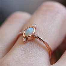Dainty Rose Gold Fire Opal Ring for Women