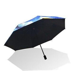 Image 3 - مثل المطر فان جوخ النفط اللوحة مظلة المطر النساء العلامة التجارية باراغواي الفنون الإبداعية المظلة الإناث الشمس والمطر المظلات YHS01