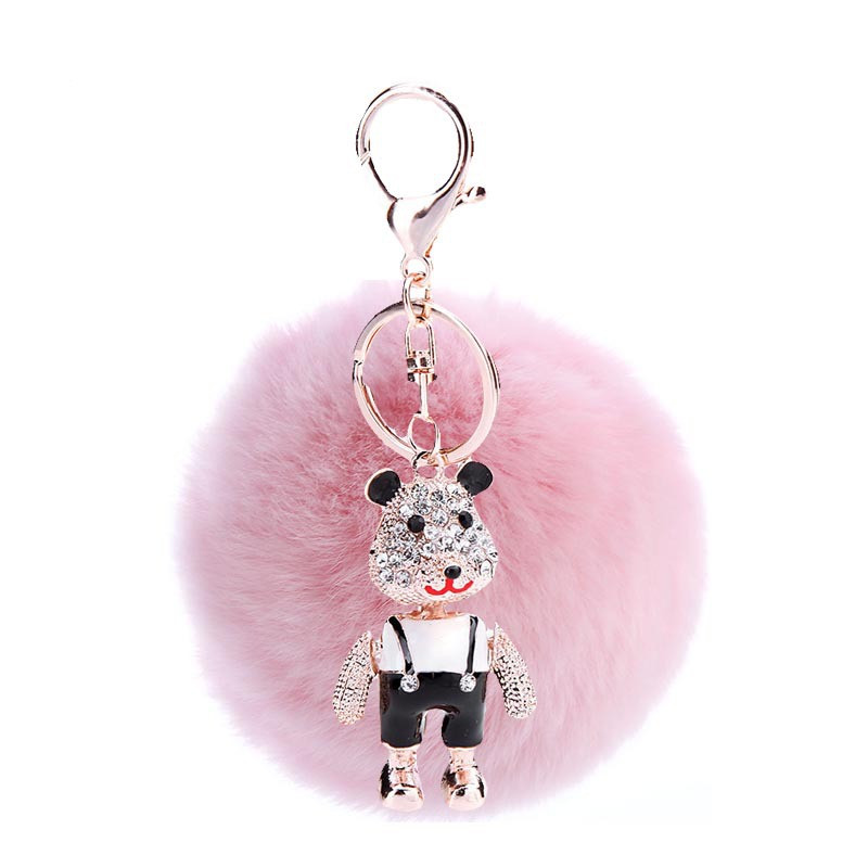 3PCS Fashion Glitter Cute Animal Bear Pendant Keyrings Round Fur Ball Zinc Alloy Lobster Clasp Keychains Lady Handbag Hanger
