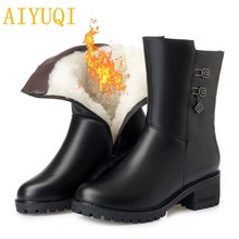 AIYUQI women wool boots 2019 new genuine leather female snow boots, size 41 42 43 Martin shiny winter
