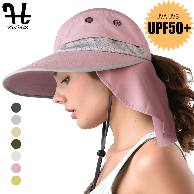 FURTALK Summer Sun Hat With Neck Flap Women Men Wide Brim Waterproof UPF 50+ UV Protection Visor Hat Hiking Ponytail Safari Hats