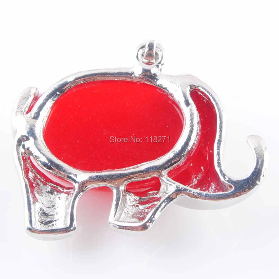 WOJIAER naturel rouge Jades pierre gemme énergie mignon éléphant pendentifs pour enfant bijoux Chakra PN3608