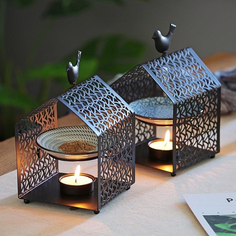 Romantic House Shaped Incense Burner Iron Art Censer Essential Oil Fragrant Powder Heater Decor Crafts Yoga Night Lights Lamp
